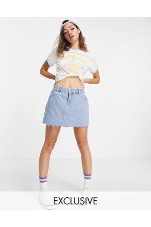 Reclaimed Inspired – Mini-Jeansrock in verwaschenem mit niedrigem Bund