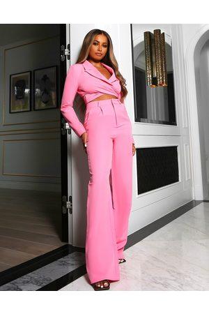 Public Desire X Amber Gill – Smarte Hose mit hohem Bund in Pink, Kombiteil