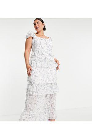 Missguided Damen Lange Kleider - – Maxikleid in mit Rüschendetail