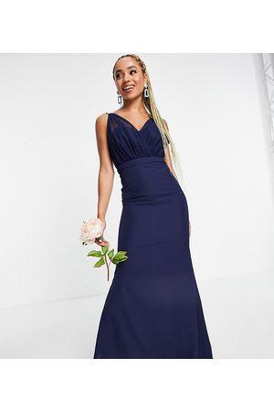 Missguided Damen Trägerlose Kleider - – Bridesmaid – Bandeau-Kleid in Marineblau mit Organzadetail