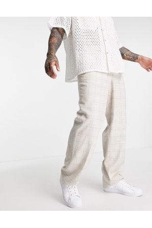 ASOS – Elegante Hose aus Leinenmischung mit weitem Bein & Karomuster in , Kombiteil-Neutral