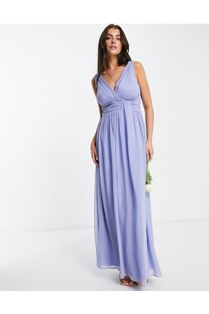 Little Mistress Damen Lange Kleider - – Bridesmaid – Maxikleid mit V-Ausschnitt in