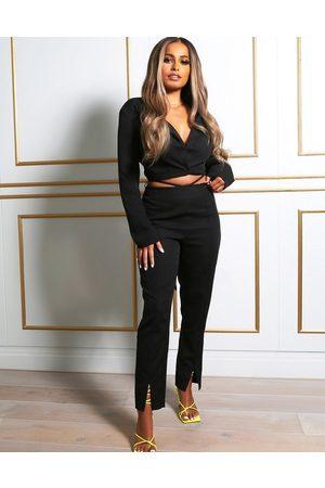 Public Desire X Amber Gill – Hose mit Taillendetail und Schlitzen vorn am Saum in