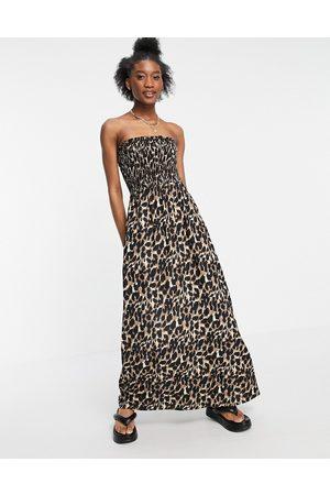Influence Damen Strandkleider - – Maxi-Strandkleid ohne Träger mit Leopardenmuster-Mehrfarbig