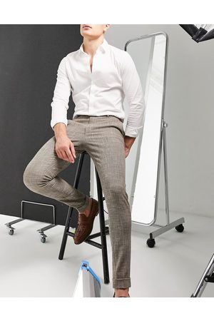 ASOS – Elegante Hose mit superengem Schnitt und Kreuzschraffur in Steinfarbe-Neutral