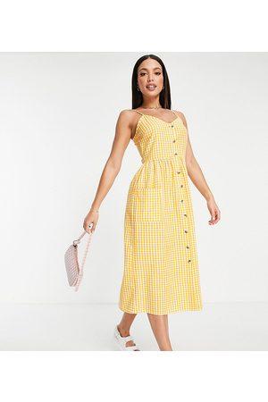 Influence Damen Bedruckte Kleider - Petite – Kleid in mit Vichy-Karo und Knöpfen vorne