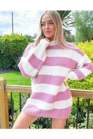 In The Style – Billie Faiers – Pulloverkleid mit Streifen-Mehrfarbig