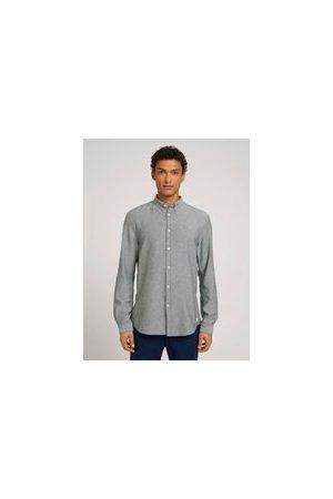 TOM TAILOR Herren Lange Ärmel - Hemd aus Bio-Baumwolle, Herren, navy off white twill, Größe: XXL