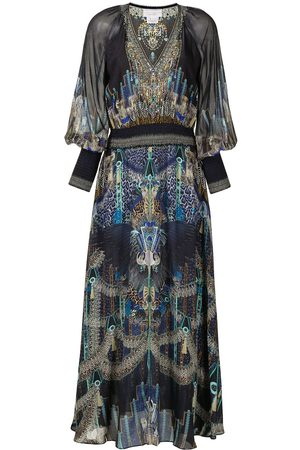 Camilla Damen Partykleider - Shirred-waist V-neck dress