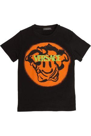 VERSACE Bedrucktes T-shirt Aus Baumwolljersey