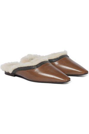 Brunello Cucinelli Damen Halbschuhe - Slippers aus Leder und Shearling