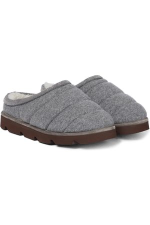 Brunello Cucinelli Damen Halbschuhe - Slippers aus Kaschmir und Shearling