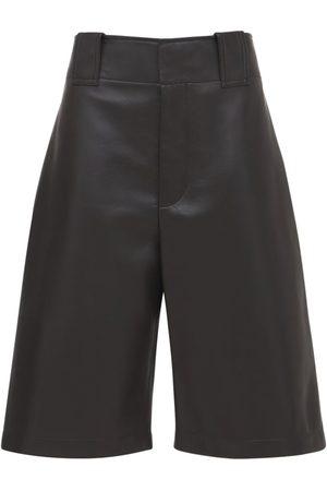 BOTTEGA VENETA Wide Leg Leather Bermuda Shorts
