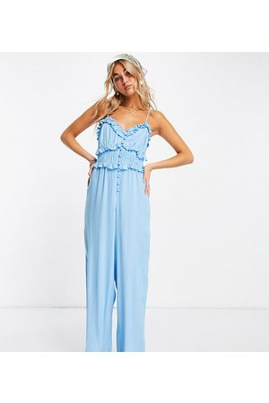 Reclaimed Damen Tops - Inspired – Camisole-Jumpsuit in Blau mit Knopfleiste-Mehrfarbig