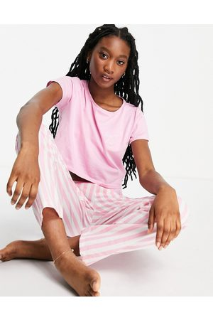 Brave Soul – Langer Pyjama mit gestreifter Hose in und Weiß
