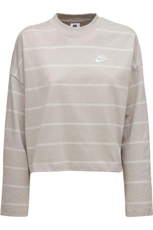Nike Damen Shirts - Gestreiftes Oberteil Aus Baumwolle