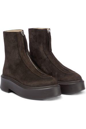 The Row Damen Stiefeletten - Ankle Boots aus Veloursleder