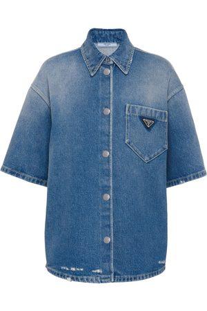 Prada Damen Blusen - Jeanshemd mit Logo-Schild