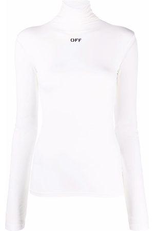 OFF-WHITE Damen Rollkragenpullover - Rollkragenpullover mit Logo-Print