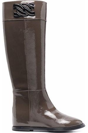 Casadei Damen Stiefeletten - Stiefel mit Kettendetail