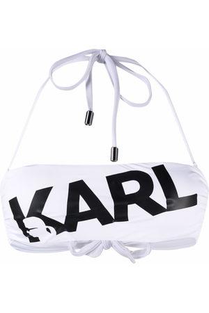 Karl Lagerfeld Logo print bandeau bikini top
