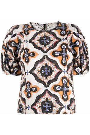 ULLA JOHNSON Bluse mit geometrischem Print - Nude