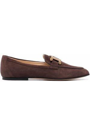 Tod's Damen Halbschuhe - Chain-plaque suede loafers