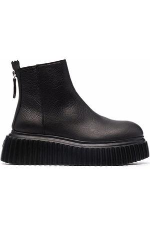 AGL ATTILIO GIUSTI LEOMBRUNI Damen Stiefeletten - Sandy leather ankle boots - 1013 NERO-NERO