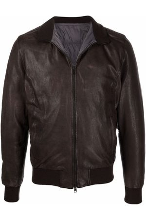 BARBA Nick leather bomber jacket - 01 BROWN