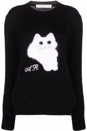 Alessandra Rich Intarsien-Pullover mit Katze