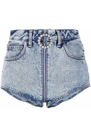 Alessandra Rich Jeans-Shorts mit Kristallen