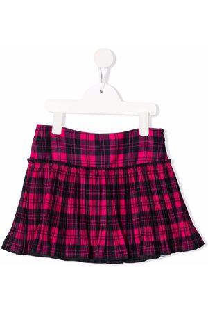 Il gufo Pleated tartan mini-skirt