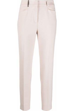 PESERICO SIGN Damen Slim & Skinny Hosen - Schmale Hose mit Bügelfalten - Nude