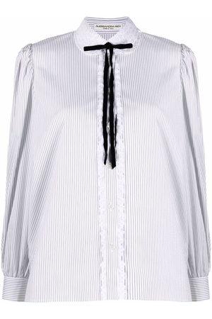 Alessandra Rich Damen Blusen - Gestreiftes Hemd mit Bubikragen