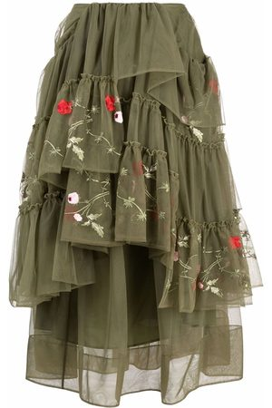 Simone Rocha Floral-embroidered tiered tulle skirt
