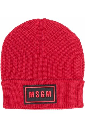 MSGM Kids Ribbed-knit logo-patch hat