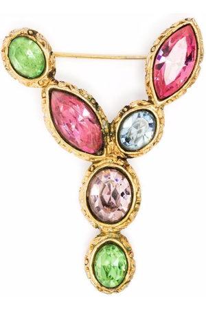 Yves Saint Laurent Damen Broschen - 1990s crystal-embellished Y brooch