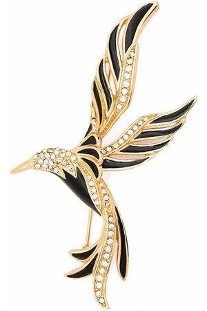 Dior 1980s pre-owned rhinestone-embellished bird brooch