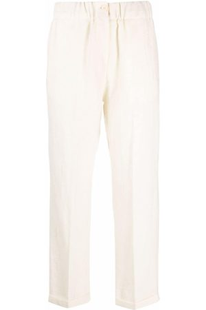 ALYSI High-waisted cropped virgin wool trousers - Nude