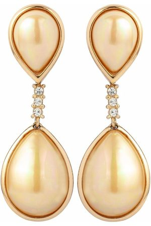 Dior 1980s pre-owned crystal-embellished drop clip-on earrings