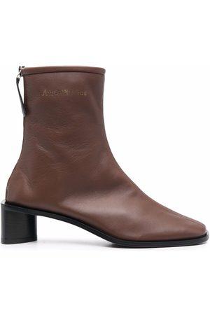 Acne Studios Damen Stiefeletten - Logo-print square-toe boots