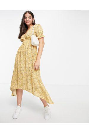 Influence Damen Freizeitkleider - – Midi-Freizeitkleid in mit geraffter Taille und Blümchenmuster