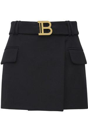 Balmain Damen Miniröcke - Tief Sitzender Minirock Aus Wolle Mit Gürtel