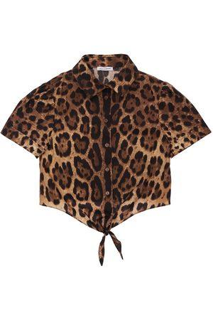 Dolce & Gabbana Mädchen Blusen - Hemd Aus Baumwolle Mit Leodruck