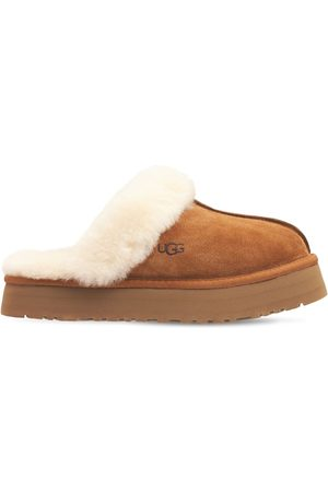 """UGG 25mm Wildleder- & Shearling-mules """"disquette"""""""