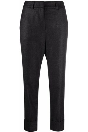 PESERICO SIGN Elasticated-waist chain-trim cropped trousers