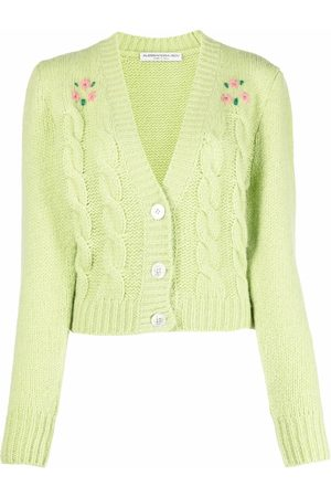 Alessandra Rich Cable-knit embroidered cardigan