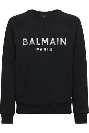 Balmain Herren Sweatshirts - Sweathirt Aus Baumwolljersey Mit Logo