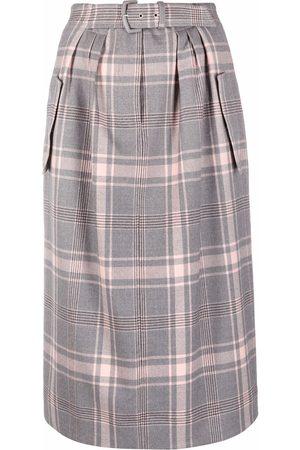 Alberta Ferretti Checked wool midi skirt