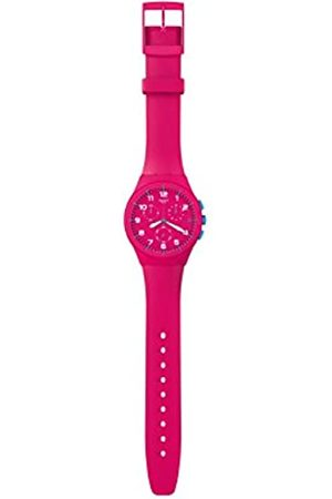 Swatch Unisex-Armbanduhr Chrono Plastic PINK Frame SUSR401 Chronograph Silikon SUSR401